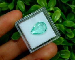 Emerald 3.17Ct Colombian Muzo Emerald Neon Mint Green Beryl B0424