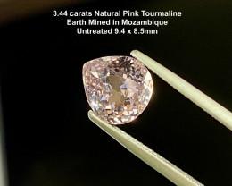3.44ct Pink Tourmaline - Untreated / 9.4x8.5mm