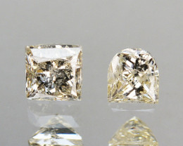 0.26 Cts Natural Untreated Diamond Fancy Yellow Square Princess Cut Africa