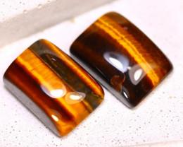 Tiger Eye 15.94Ct 2Pcs Natural Untreated Golden Tiger Eye E0422/C1