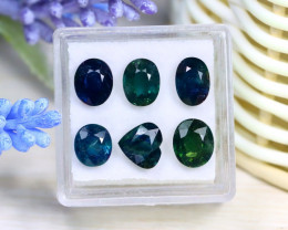 Sapphire 9.08Ct 6Pcs Natural Nigeria Blue Sapphire Box C0528
