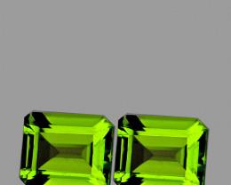 9x7 mm Octagon 2pcs 4.24cts Green Peridot [VVS]