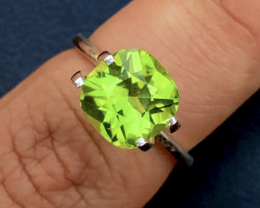 Parrot Green Color 3.35Ct Natural Step Cushion Cut Top Quality Peridot