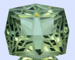 ~CUSTOM CUT~ 10.69 Cts Natural Green Prasiolite/Amethyst Cushion Fancy Braz