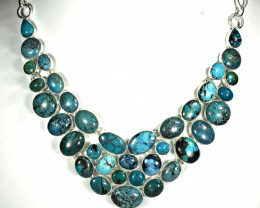 396.0 Tcw. Himalayan Turquoise, Sterling Silver Necklace - Gorgeous