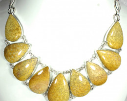 552.0 Tcw. Fossil Coral, Sterling Silver Necklace - Gorgeous