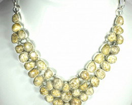 505.0 Tcw. Fossil Coral, Sterling Silver Necklace - Gorgeous