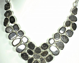 385.0 Tcw. Fossilized Coral / Sterling Silver Necklace - Gorgeous