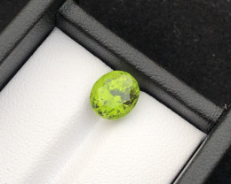 Parrot Green 3.15 cts Peridot Natural Piece Ring Size