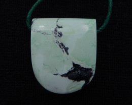D1460 - 31.5cts Hand Made Green Turquoise Pendant Bead,,Natural Green Turqu