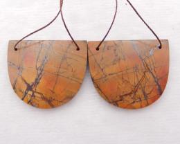 D1464 - 76.5cts Natural Multi color jasper Gemstone Earrings Pair,Handmade