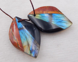 i052 - 33cts natural obsidian,labradorite, multi-color picasso jasper intar