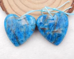 D1483 - 63cts blue apatite crystal earrings pair,apatite gemstone,heart ear