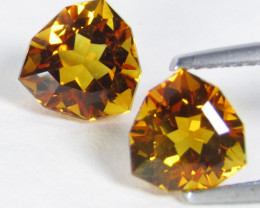 6.34Cts Excellent Natural  Citrine Trillion Custom Cut  Matching Pair VIDEO