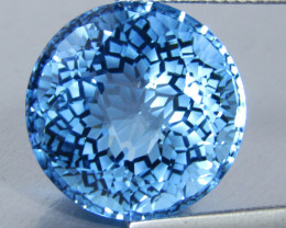 26.52Cts Unique Natural Baby Blue Topaz Nice precision Round Cut Collection