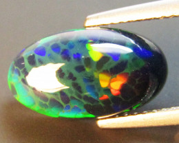 3.31Cts Natural Earth Mined Color Play Black Opal Oval Cabochon Gem REF VOD
