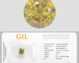 Diamond 1.53 Cts GIL Certified  Natural Fancy Vivid Greenish Yellow