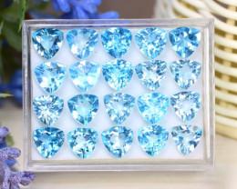 Blue Topaz 37.27Ct Trillion Cut Natural Sky Blue Topaz Lot Box C0737