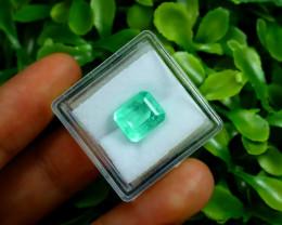 Emerald 3.71Ct Colombian Muzo Emerald Neon Mint Green Beryl B0801