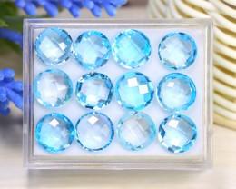 Blue Topaz 45.69Ct Pixalated Cut Natural Swiss Blue Topaz Lot Box B0822