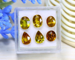 Sphene 7.46Ct 6Pcs Natural Madagascar Rainbow Flash Sphene Box B0829