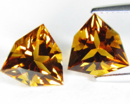6.39Cts Amazing  Natural Citrine Trillion Custom Cut Matching Pair REF VIDE