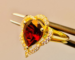 GARNET ZIRCONIA RING WITH SILVER GOLD PLATED FROM COLLECTOR- UNUSED!