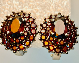 GARNET EARRINGS- , SILVER GOLD PLATED    UNUSED - COLLECTION!