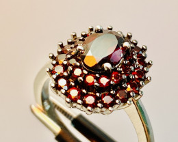 GARNET RING WITH  , SILVER GOLD PLATED FROM COLLECTOR- UNUSED!