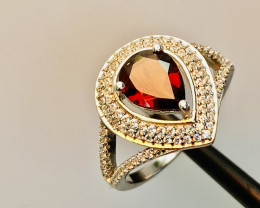 GARNET RING WITH  CZ, SILVER GOLD PLATED FROM COLLECTOR- UNUSED!