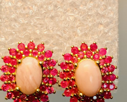 RUBY OPAL EARRINGS- , SILVER    GOLD PLATED UNUSED - COLLECTION!