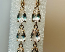 WHITE TOPAZ EARRINGS- , SILVER  gold plated   UNUSED - COLLECTION!