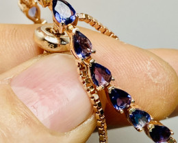 TANZANITE BRACELET SILVER GOLD PLATED     UNUSED - COLLECTION!