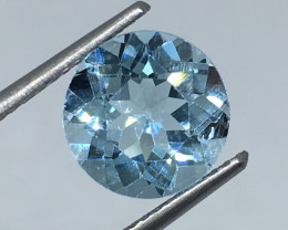 3.45 Carat Topaz Aqua Blue Precision Cut and Polished Quality !
