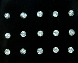 2.10 Cts Natural White Zircon 3.0 - 2.8mm Round Cut Parcel 15 Pcs