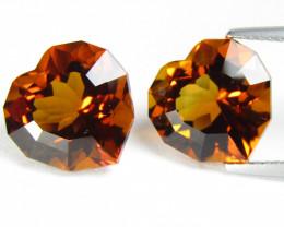 12.09Cts Excellent Natural  Orange Color Citrine Heart  Shape Custom Cut Ma