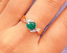 Zambian Emerald 14K Pink Rose Gold Diamond Ring EM161