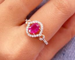 Unheated Ruby 14K Pink Rose Gold Diamond Ring EM152