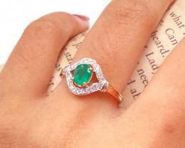 Zambian Emerald 14K Pink Rose Gold Diamond Ring EM166
