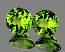 6.00 mm Round 2 pcs 1.82cts Green Peridot [VVS}