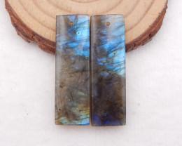 D1523 - 45.5cts Natural labradorite earrings, high quality labradorite bead