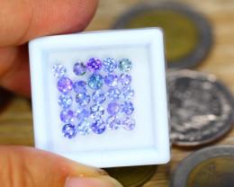 3.82ct Natural Violet Blue Tanzanite 3.5mm Round Cut Lot GW8620