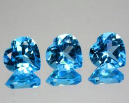 ~SET~ 4.37 Cts Natural Swiss Blue Topaz 7mm Heart Cut 3Pcs USA