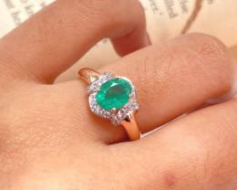 Colombian Emerald 14K Pink Rose Gold Diamond Ring EM174