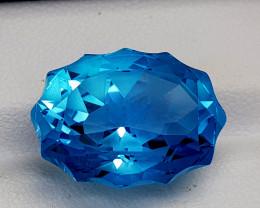 2.33CT BLUE TOPAZ PRECISION CUT  BEST QUALITY GEMSTONE IIGC54