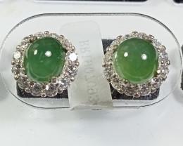 Natural Grade A Jadeite Jade 925 Silver Earrings