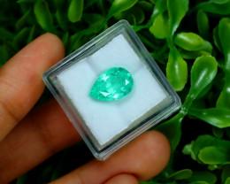 Emerald 3.09Ct Colombian Muzo Emerald Neon Mint Green Beryl A1101