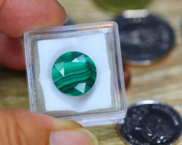12.7ct Natural Malachite Faceted Round Cut Lot V9101