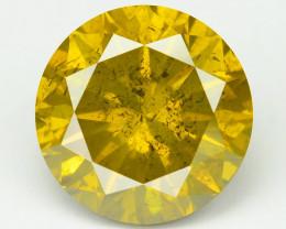 Diamond 1.71 Cts Sparkling Fancy Intense Yellow Green Natural Diamond