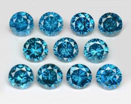 *No Reserve* Diamond 2.34 Cts 11pcs Sparkling Fancy  Intense Blue Color Nat
